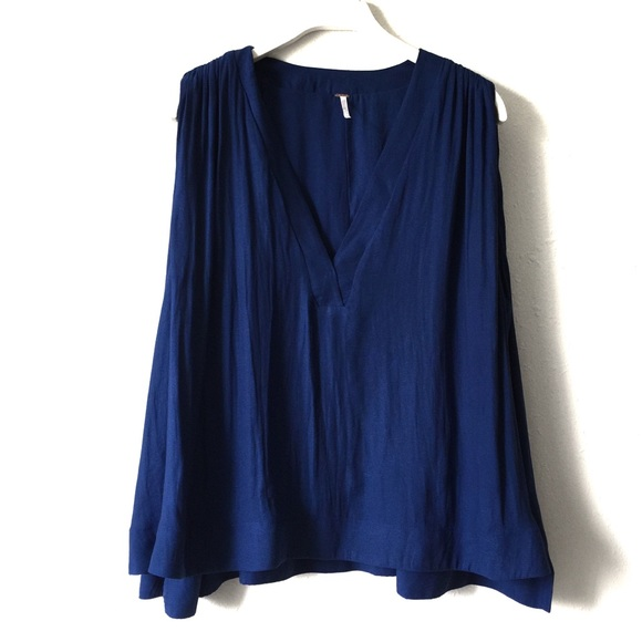 """Free People Tops - Free People Blue """"Darcy"""" Pleated Sleeveless Tank S"""